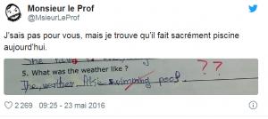 Tweet de MonsieurLeProd sur un élève