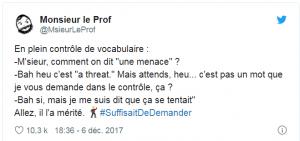 MonsieurLeProf tweet sur ses élèves qui trichent